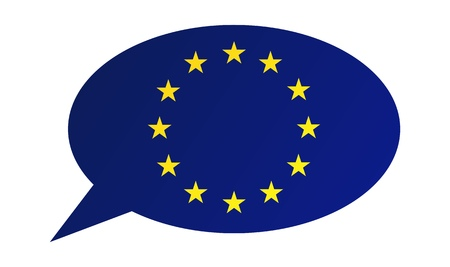 Conversation dialogue bubble of the European Union (EU) Illustration