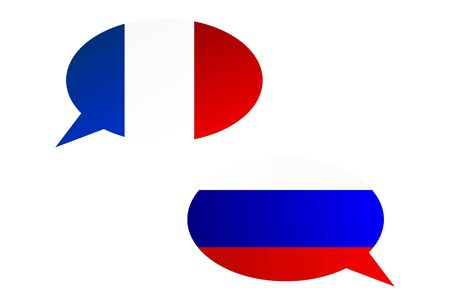 Conversation dialogue bubbles between France and Russian Federation Illustration
