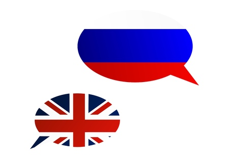 Conversation dialogue bubbles between Russian Federation and United Kingdom Illustration
