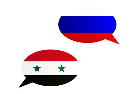 Conversation dialogue bubbles between Russian Federation and Syria
