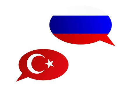 Conversation dialogue bubbles between Russian Federation and Turkey