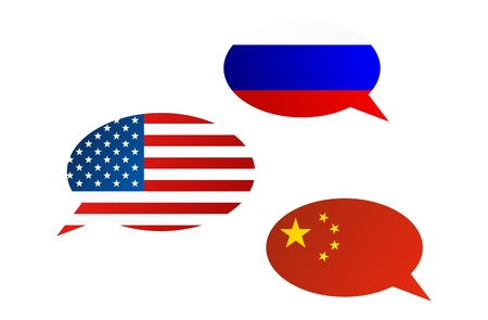 Conversation dialogue bubbles between Russian Federation, China and United States of America Illustration