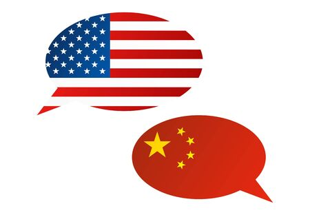 Conversation dialogue bubbles between United States of America (USA) and China Illustration