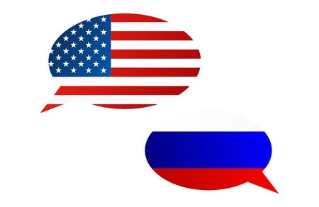 Conversation dialogue bubbles between United States of America (USA) and Russian Federation (Russia)