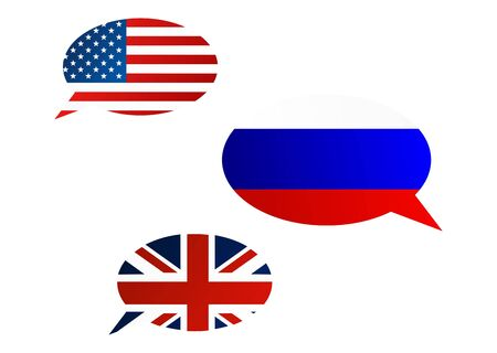 Conversation dialogue bubbles between United States of America, United Kingdom and Russian Federation