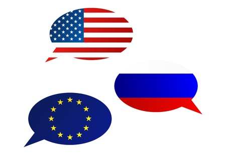 Conversation dialogue bubbles between United States of America, European Union and Russian Federation
