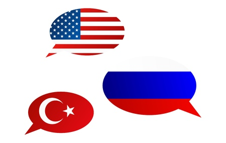 Conversation dialogue bubbles between United States of America, Turkey and Russian Federation