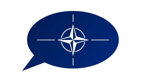 treaty: Conversation dialogue bubble of the North Atlantic Treaty Organization (NATO)
