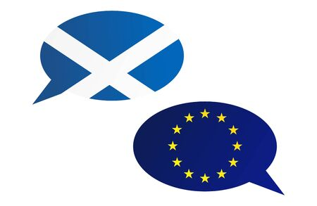 scottish parliament: Conversation dialogue bubbles between European Union and Scotland. Election or referendum in Scotland. Illustration