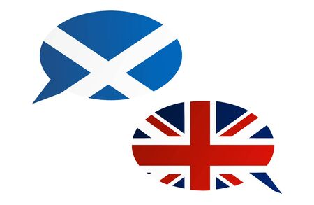 Conversation dialogue bubbles between Scotland and United Kingdom. Election or referendum in Scotland.