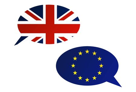 official ballot: Election or referendum in Great Britain. Conversation dialogue bubbles between European Union and United Kingdom.