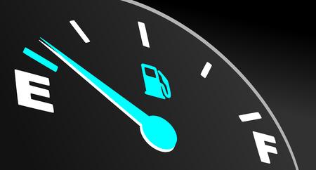 Blue fuel gauge showing empty tank. Vector fuel indicator on black background.