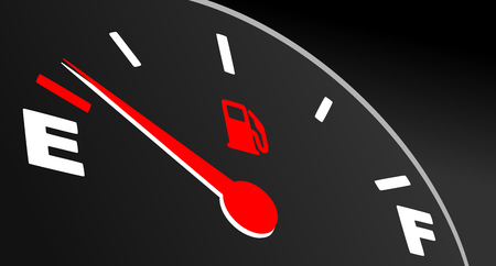 Red fuel gauge showing empty tank. Vector fuel indicator on black background.