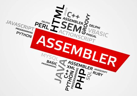 ASSEMBLER word cloud, tag cloud, vector graphics - programming concept Illustration