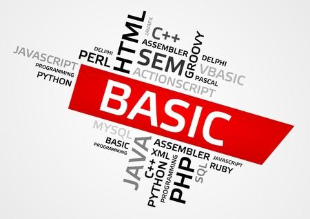BASIC word cloud, tag cloud, vector graphics - programming concept Illustration