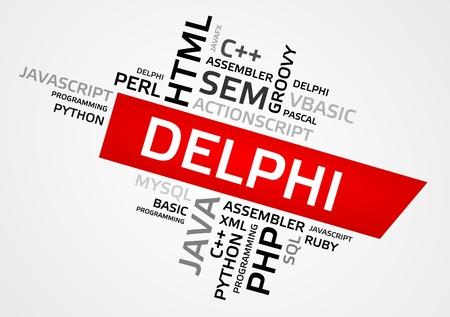 DELPHI word cloud, tag cloud, vector graphics - programming concept Illustration