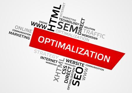 OPTIMALIZATION word cloud, tag cloud.
