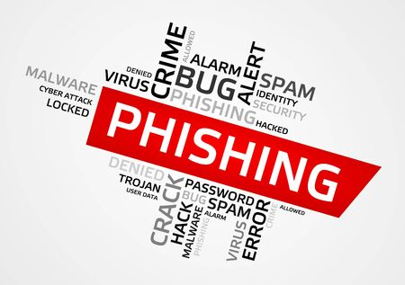 debugging: PHISHING word cloud, tag cloud, vector graphics - security concept.