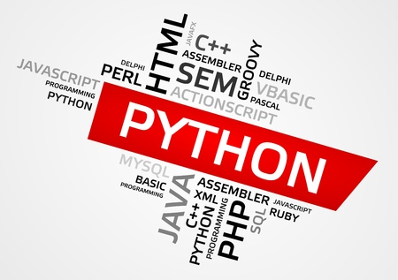 PYTHON word cloud, tag cloud, vector graphics - programming concept.