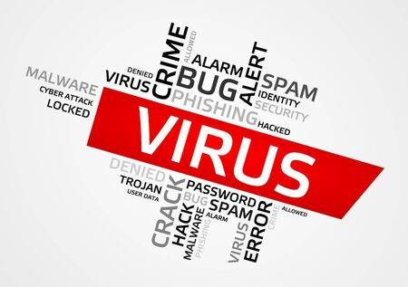 VIRUS word cloud, tag cloud, vector graphics - security concept.