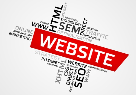 WEBSITE word cloud, tag cloud, vector graphics - business and internet concept.