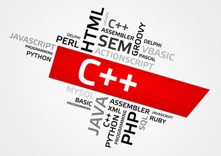C++ word cloud, tag cloud, vector graphics - programming concept