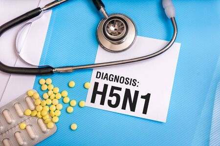 H5N1 word written on medical blue folder with patient files, pills and stethoscope on background Stock Photo