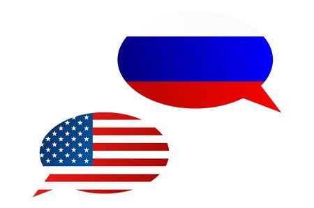 Conversation dialogue bubbles between Russian Federation (Russia) and United States of America (USA) Stock Photo