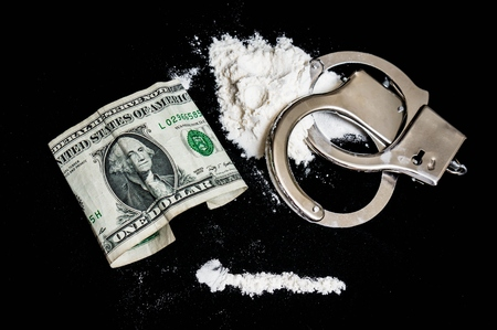 cuff: Handcuffs, money and cocaine drugs on black background Stock Photo