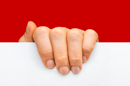 Womans hand holding white blank paper isolated on red background