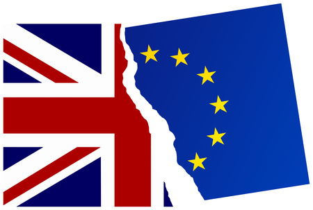 official ballot: United Kingdom exit from the European Union. Election or referendum in Great Britain. Brexit. Illustration