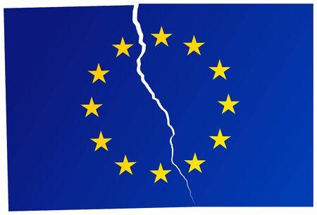 Broken Flag of European Union - vector