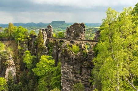 Bastei bridge in Saxon Switzerland in summer, Germany Stock Photo