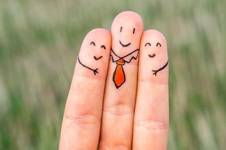 Happy finger on field background