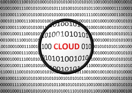 Binary code with CLOUD and magnifying lens on white background. Stock Photo