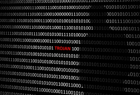 Anonymous hacker without face and trojan horse virus binary code background Stock Photo