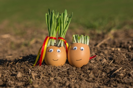 Happy egg family on the soil, Easter Stock Photo