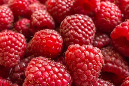 Pile of red raspberries on the table Stock Photo