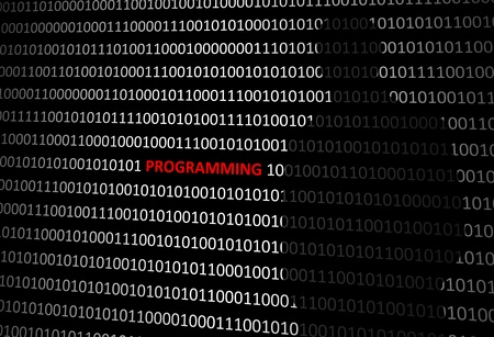 Anonymous hacker without face programming personal computer - binary code background. Stock Photo