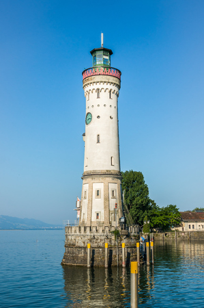Lighthouse at morning in harbor of Lindau in lake Constance, Germany
