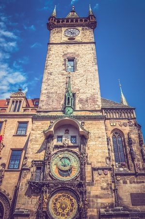 The Astronomical Clock in Prague in the Czech Republic - retro and vintage style Stock Photo