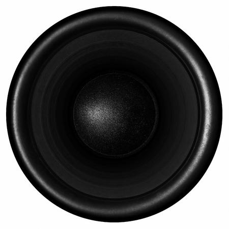 Black audio speaker isolated on white background