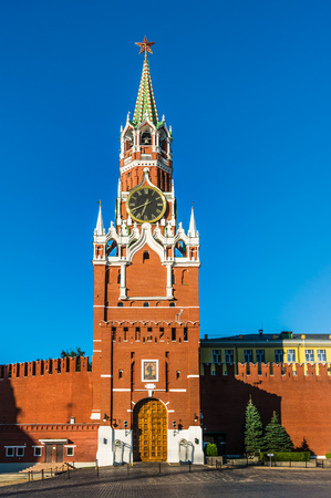 Spasskaya tower of Kremlin on Red Square in Moscow, Russia