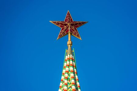 spassky: Red star on the top of the Kremlin tower on Red Square in Moscow, Russia