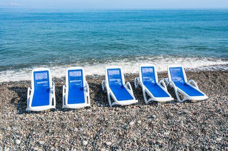 Sun loungers on the beach in Batumi, Georgia