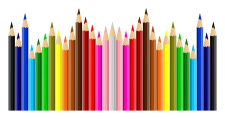 Beautiful multicolored crayons isolated on white background - vector illustration