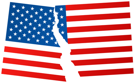 presidential: Some states wants to leave (exit) the United States of America. Broken flag of USA - vector illustration.