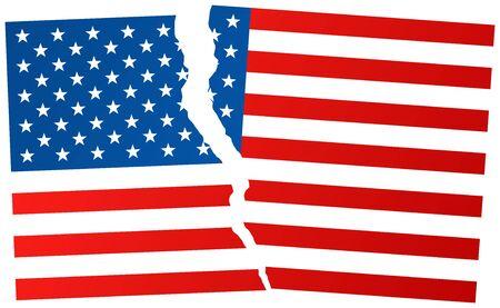 Broken flag of USA. Election or referendum in United States of America. Vector illustration.