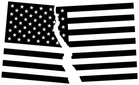 dissolution: Black and white broken flag of USA. Election or referendum in United States of America. Vector illustration.
