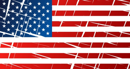 Tattered flag of United States of America, USA - vector graphics